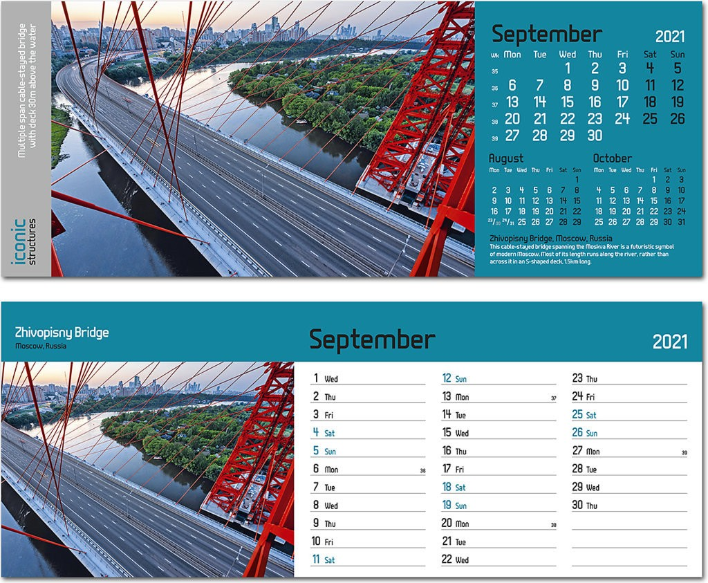 Iconic Structures Premium Lined Easel Desk Calendar